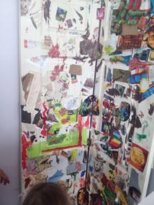 The collaged door.