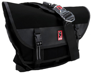 Chrome messenger bag similar to that carried by suspect