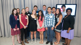 BCF Brookline Teen Grantmakers present at 2015 Annual Meeting. BTG members: Back row from left: Jessica Fang, Josh Grossman, Jesse Huggins, Gabe Sultan, Brian Xu, Rahul Kolluri Front row from left: Kaylie Abner, Abigail Jaynes, Clasby Chope, Nisha Arole, Joseph Lee, Ali Greenberg, Janeen Smith (BTG Program Coordinator) Photo by: Leise Jones
