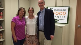 From Left to Right: Rene Feuerman, Director of Brookline Food Pantry (BFP); Steffani Boudreau, BFP Board Member; Matthew Baronas, Assistant Executive Director/Director of Management of Brookline Housing Authority