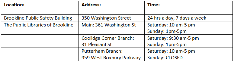brookline weather emergency outlets